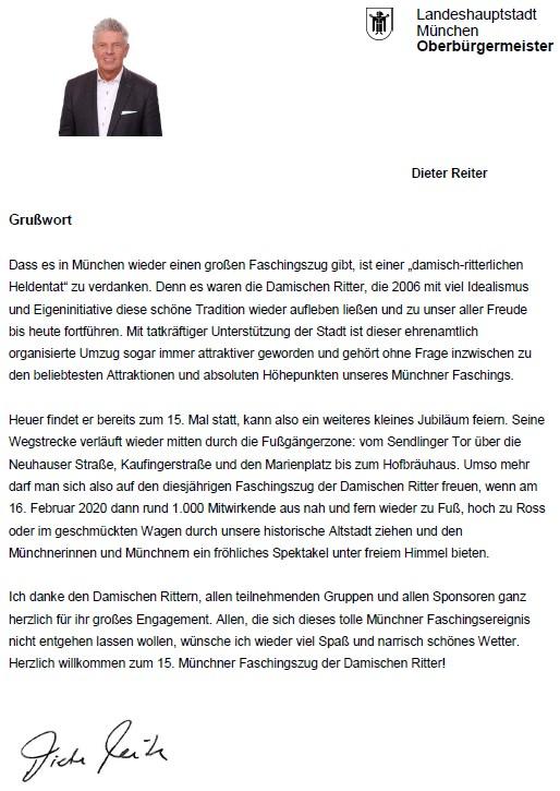 Grußwort des Oberbürgermeisters Dieter Reiter zum Fasching 2020